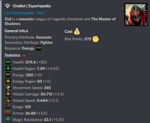 OneBot - League of Legends Champion