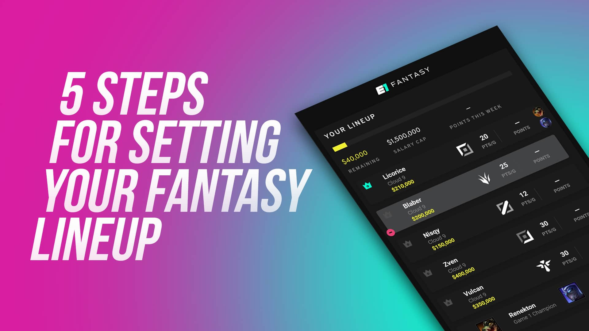 5 Steps For Setting Your Fantasy Lineup