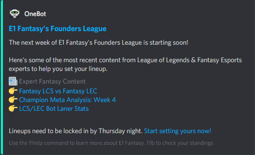 OneBot sends you the latest fantasy league of legends news to help you set your lineup