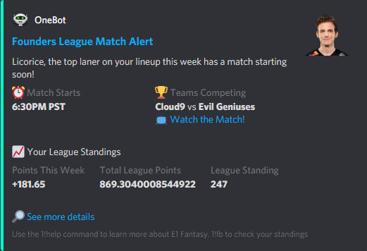 OneBot lets you know when a player on your fantasy LoL lineup is about to compete in a match.