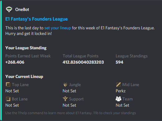 OneBot will remind you to lock in your fantasy league of legends lineup