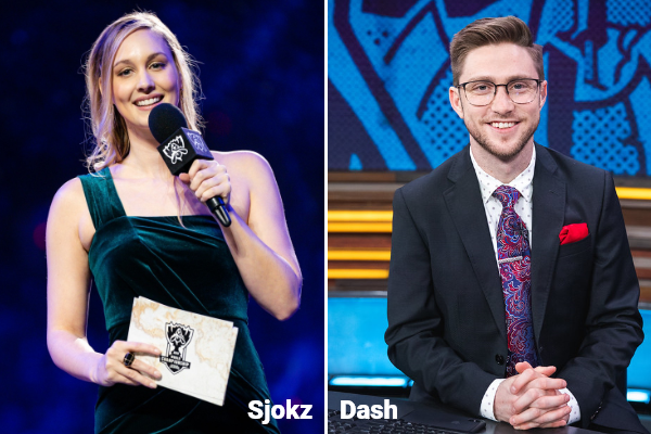 Two League of legends esports hosts named Dash and Sjokz