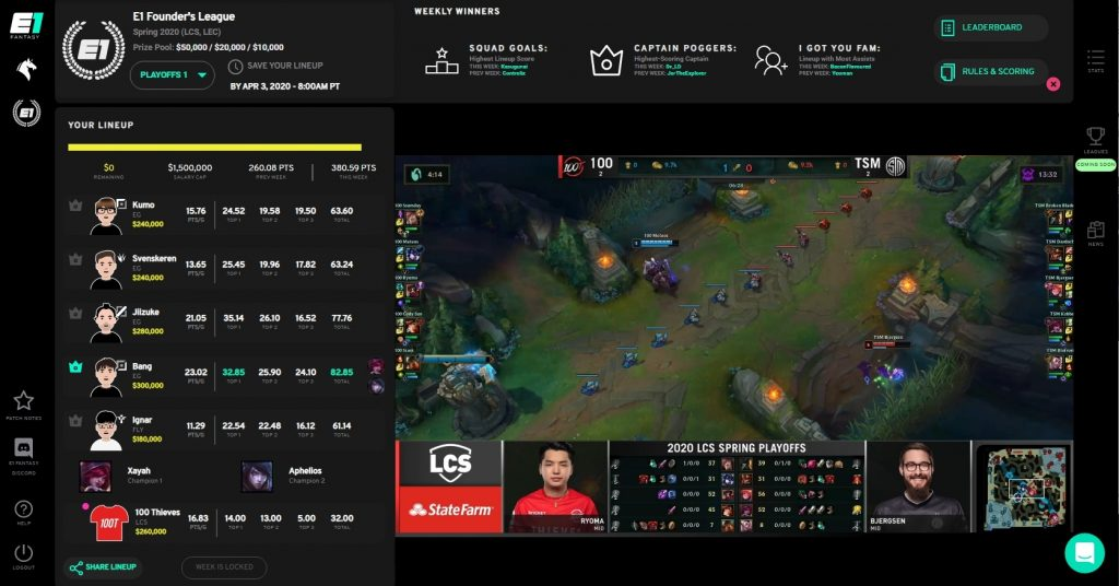 Watch Games Live on E1 Fantasy