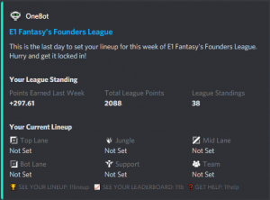 OneBot sends you important updates about your E1 Fantasy lineup
