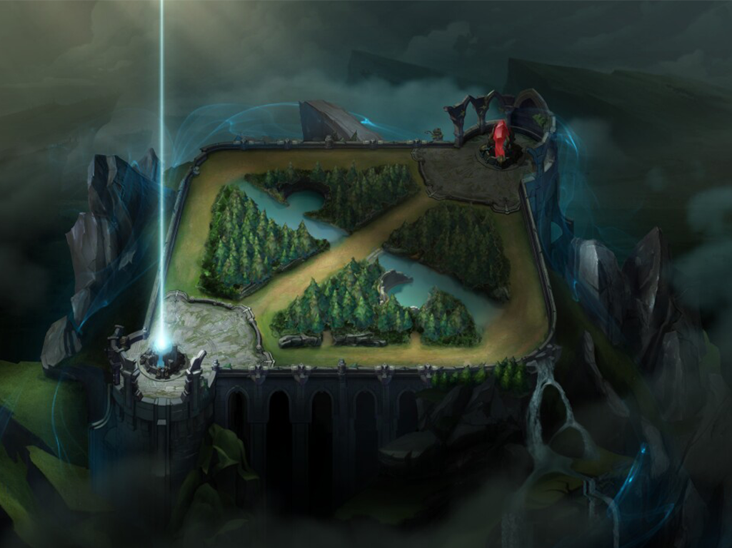 Leage of legends map with nexus highlighted