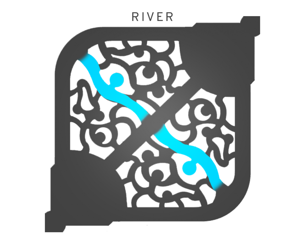 Overview of the league of legends map with river highlighted